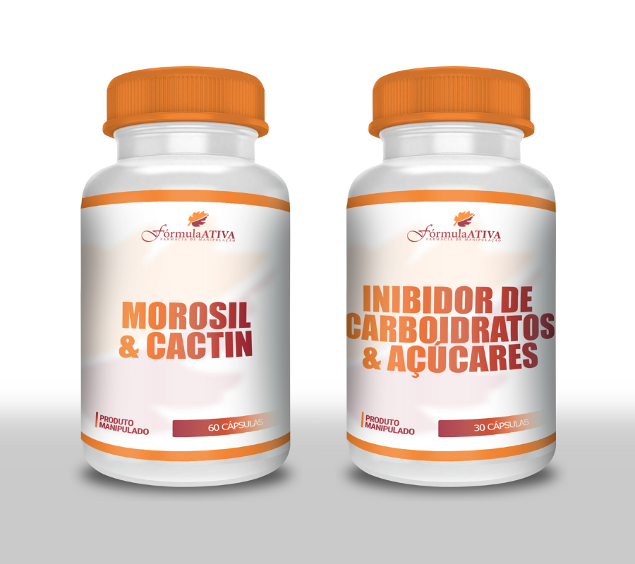 Kit Emagrecimento (Cactin + Morosil - 30 doses + Inibidor de Carbo - 30 doses)
